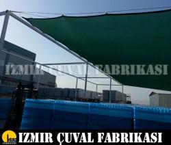 İZMİR ÇUVAL FABRİKASI - 4 x 8 mt GÖLGELİK FİLE KENARLARI DİKİMLİ HALKALI